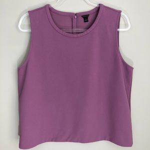Ann Taylor Purple Shell Dress Tank Blouse L